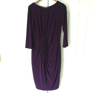 Adriana Papell // Purple Cross Drape Waist Dress